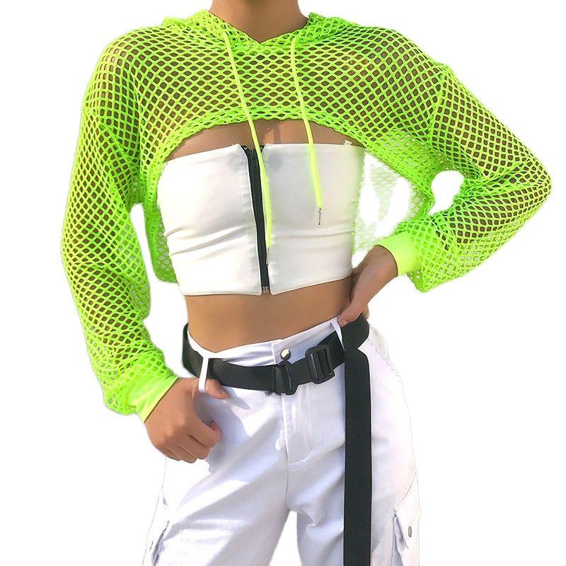 Women Crop Tops Mesh Fishnet Shirt Blouse Beach Casual Long Sleeve Hollow Out Hoodies Pullovers Sun Protection Top Street недорого