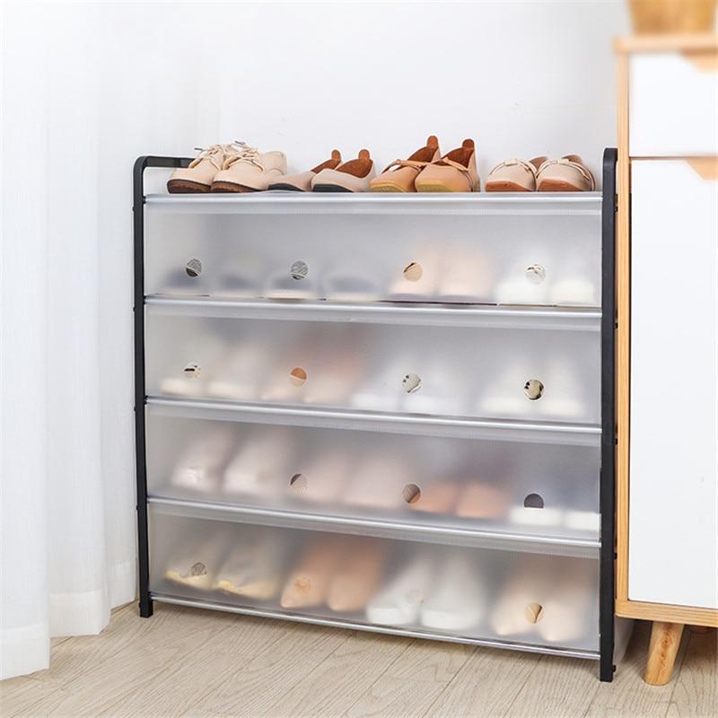Zapatero de 4/5 niveles, Zapatero para el hogar, calzado a prueba de polvo, armario, organizador de almacenamiento, ahorro de espacio, cubierta, estante de armario, caja de zapatos translúcida Simple