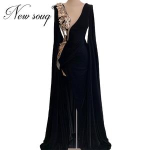 Abendkleider Black V Neck African Prom Dresses Long Beaded Sequins Evening Dress Red Carpet Gown 2020 Dubai Celebrity Party Gown