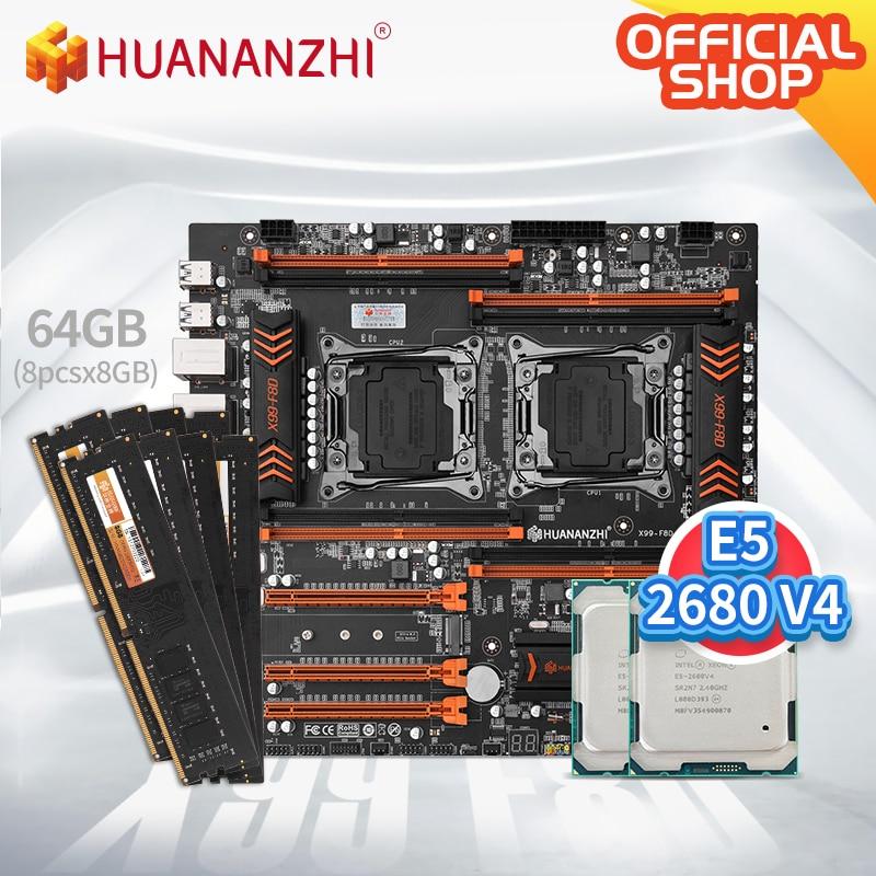 HUANANZHI X99 F8D X99 اللوحة إنتل المزدوج مع إنتل زيون E5 2680 V4 * 2 مع 8*8GB DDR4 NON-ECC الذاكرة كومبو كيت NVME USB