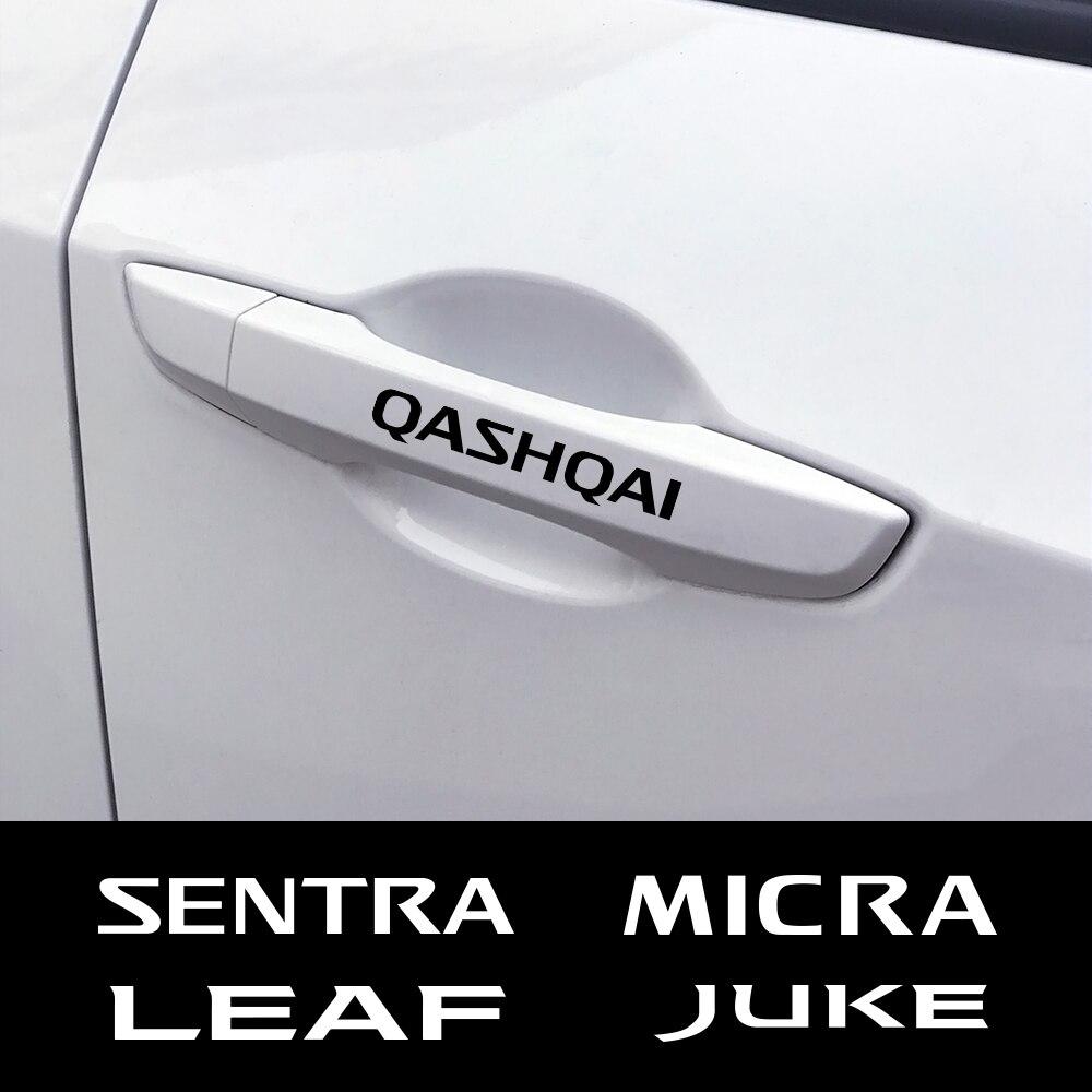 4 unids/set puerta del coche adhesivo de manija para el Juke Nissan Qashqai de Micra Sentra patrulla Maxima Murano Tiida Pulsar Altima Rogue Sylphy