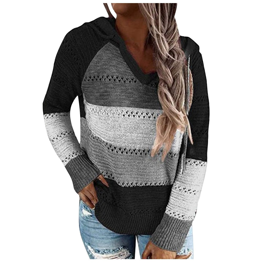 Fashion Blouse Women Casual Patchwork V-neck Long Sleeves Hooded Sweater Blouse Tops Blusas Femininas De Verão Top Femme #JJ