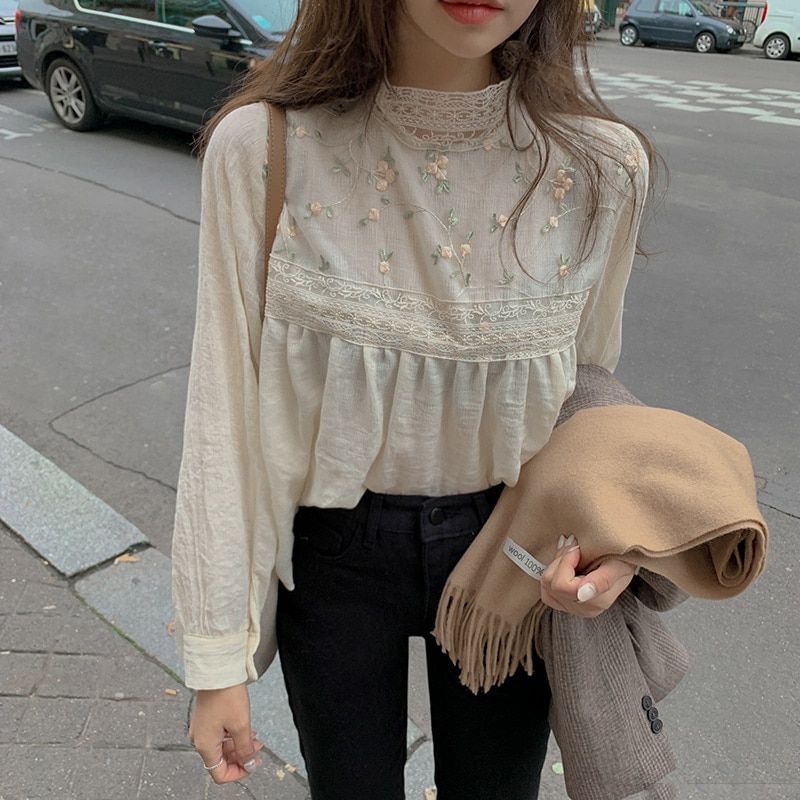 aliexpress - Alien Kitty New Elegant Lace Stand Collar Blouse Shirt Sexy Hollow Out Floral Embroidery Feminine Blouses Women Long Sleeve Tops