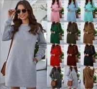 2021 autumn winter o neck long sleeve women sweatshirt dress 2021 new fashion solid loose pocket ladies dress vestidos