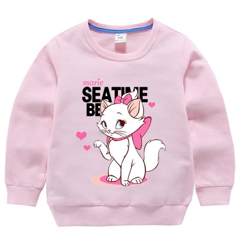 Ropa de gato Marie De 1-10 años, sudaderas con capucha para chica de manga larga, sudadera de gato aristocrático, lindas camisetas de bebé prendas de vestir