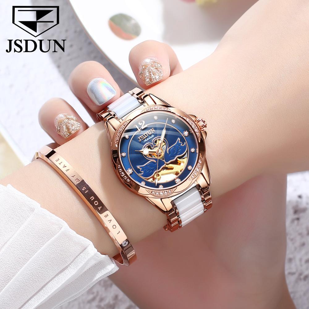 JSDUN fashion women watches top brand luxury 2021 Automatic mechanical movement Ceramic steel strap waterproof Ladies' gift enlarge