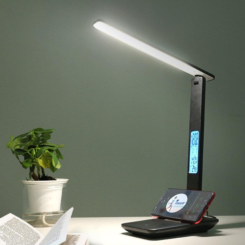 مصباح قراءة طاولة Led ، مصباح قراءة Led للمكتب ، يعمل باللمس ، قابل للتعديل ، مع التقويم ، درجة الحرارة ، ساعة منبه ، لامباراس