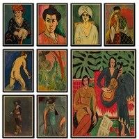 Henri Matisse mode retro papier Kraft affiches abstrait Portrait mur Art peinture photos pour salon decor a la maison