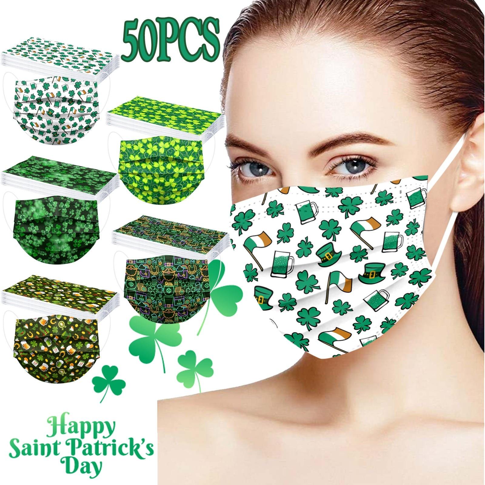 Mascarilla desechable de Día de San Patricio para adultos, máscara de Anti-PM2.5...
