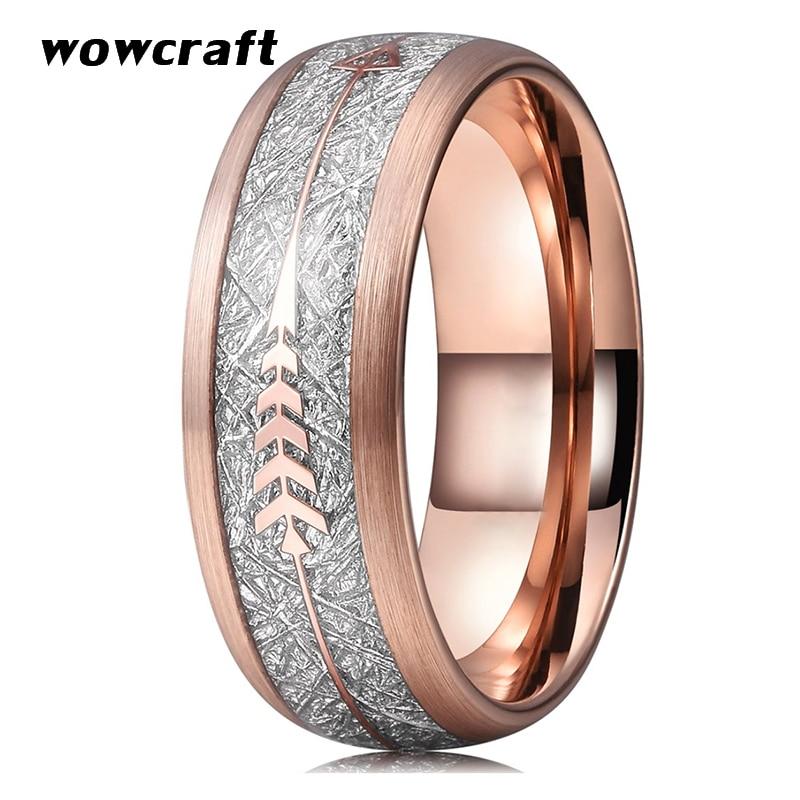 8mm or Rose bandes de mariage en carbure de tungstène anneaux pour hommes femmes brossé finition bombée météorite flèche incrustation confort ajustement