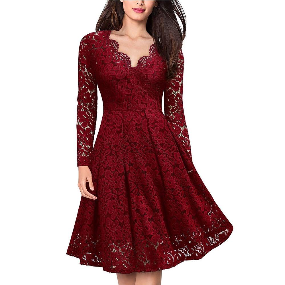 Vestido de fiesta para mujer, elegante, con escote en V, encaje, manga larga, rojo, ajustado, informal, ajustado, de talla grande, 3X LFemale, vestido de verano para mujer