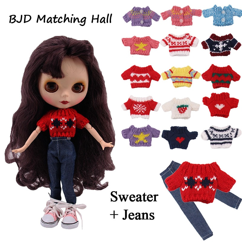 Blyth Doll Clothes Set=1Sweater+1Jeans+1Shoes For BJD 30Cm 1/6 Blyth Doll Generation,Christmas Birthday Girl's Toy Gift недорого