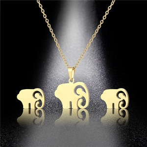 Gold Stainless Steel Little Baby Elephant Pendant Necklace Sets Choker For Women Collier Femme Cute Lucky Animal Jewelry