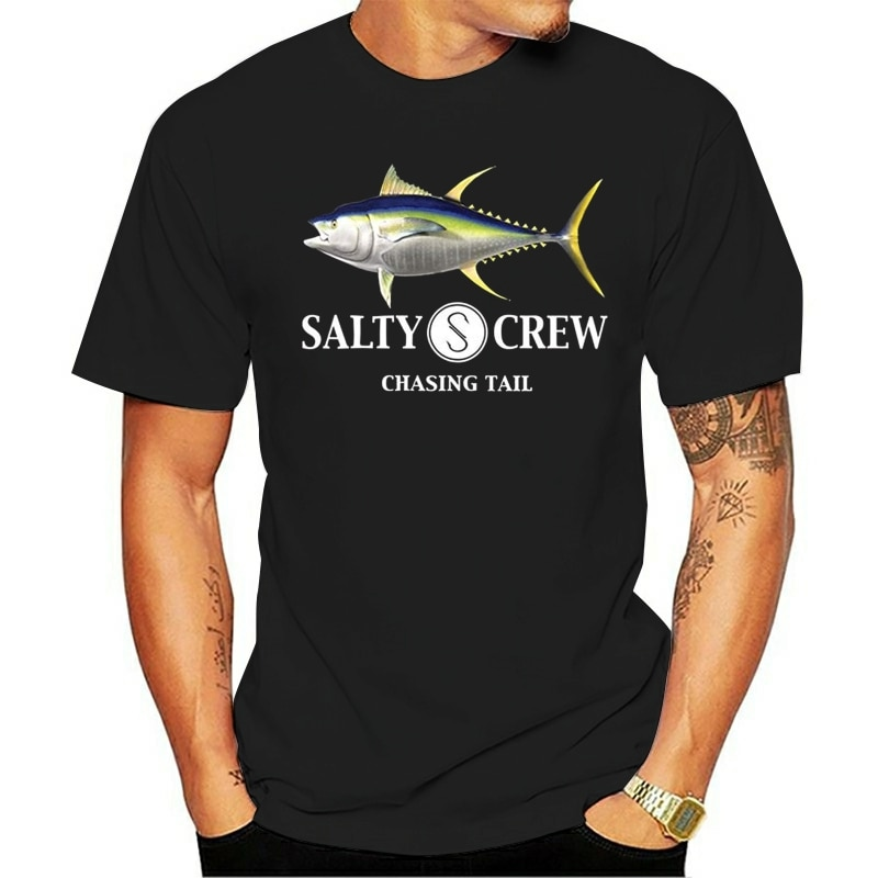 Salado Crew MenAhi Mount SS Camiseta corta Casual de algodón cuello redondo Camiseta impresa Broadcloth camiseta