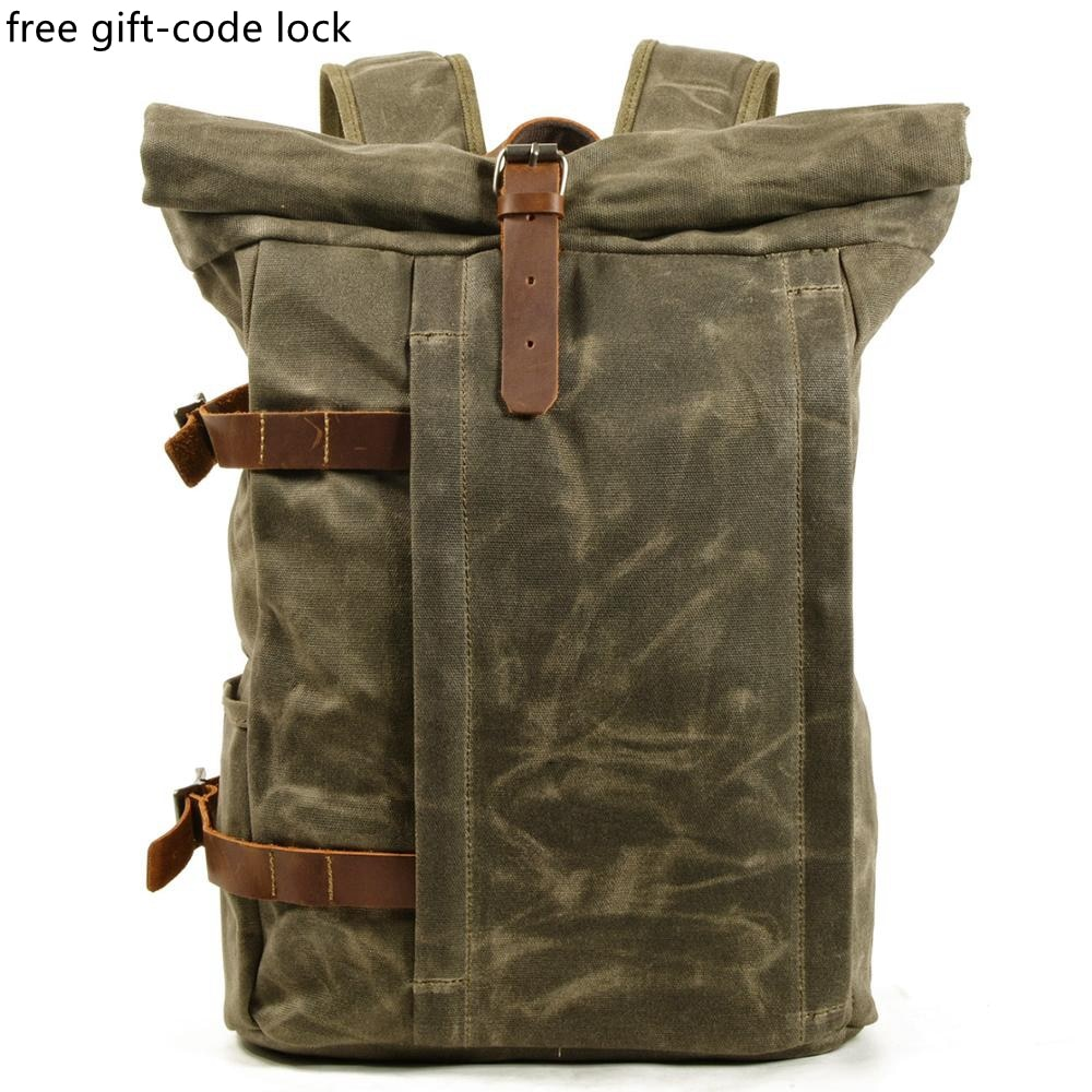 Weysfor Vogue Oil Waxed Canvas Backpack Laptop Bag Multifunctional Outdoor Anti-theft Waterproof Travel Leisure