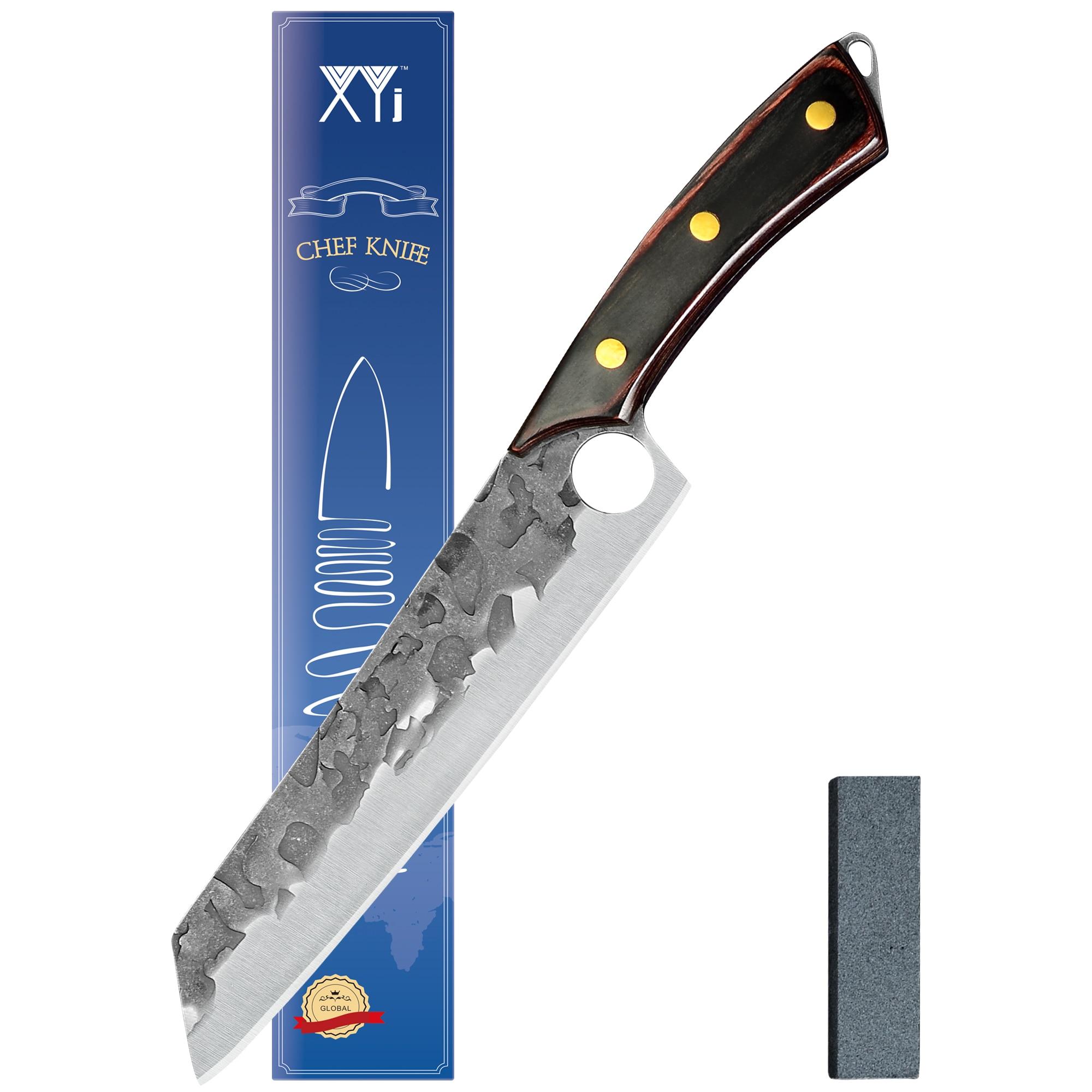 XYJ 8.5 بوصة كامل تانغ فيليه سكين المشحذ المطرقة إنهاء شفرة مقبض خشبي اللحوم الساطور الأسماك آلة تقطيع اللحوم السكاكين في صندوق هدية