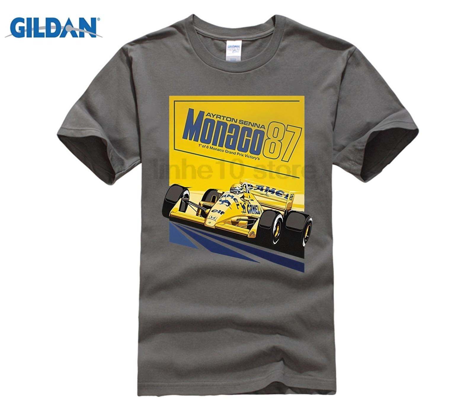 Neue Ankunft Ayrton Senna 87 Poster Tops T Shirt 1 Auto Männer Runde Kragen Kurzarm T-Shirts
