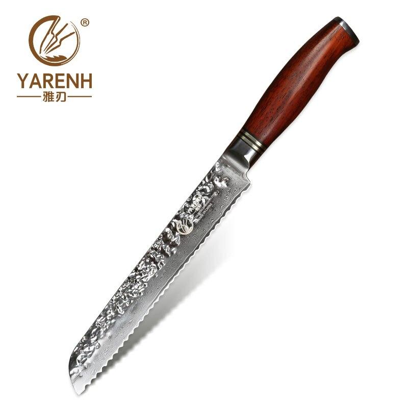 YARENH 8 polegada Bolo de Aço Inoxidável faca de Pão Serrilhada Facas Damasco faca