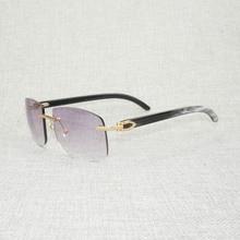 Vintage Black White Buffalo Horn Oversize Sunglasses Men Natural Wood Shades Rimless Eyewear for Dri