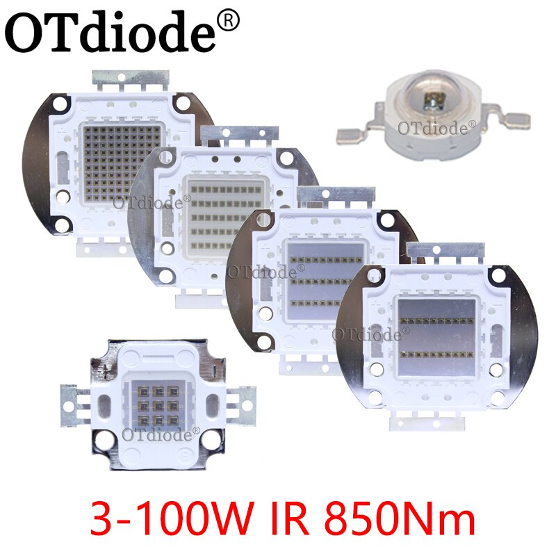 Chip LED de alta potencia IR infrarrojo 850nm 3W 10W 20W 30W 50W 100W emisor diodo lámpara de luz mazorca matriz 850 nm para cámara de visión nocturna