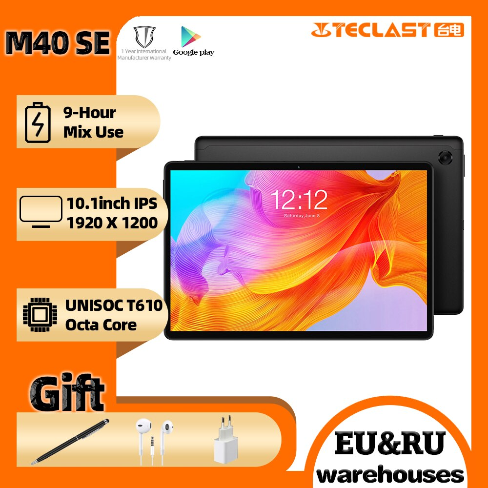 """Newest tablet Teclast M40SE 10.1"""" Android 10.0 tablet PC 4GB RAM 128GB ROM 5MP Camera Dual 4G Phone Call Bluetooth5.0 OTG Type-C"""