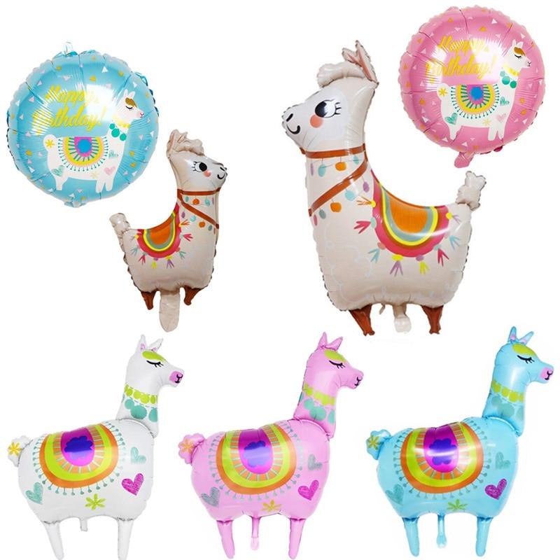 Animal Llama de aluminio helio globo decoraciones para fiesta de cumpleaños Alpaca Cactus torta Topper papel Banner globo
