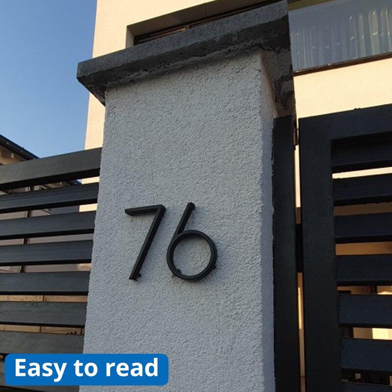 Купить с кэшбэком 12cm Big 3D Modern House Number Door Home Address Numbers for House Number Digital Door Outdoor Sign Plates 5 Inch. #0-9 Black