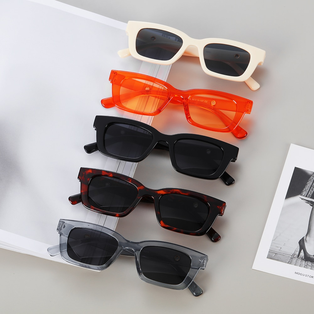 1PC New Rectangle Sunglasses for Women Retro Driving Glasses Vintage Fashion Narrow Square Frame UV4