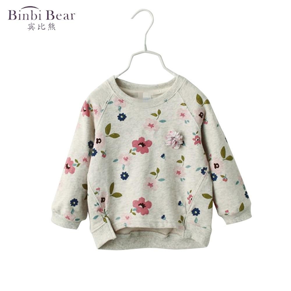 Binbi oso 2020 Otoño e Invierno niñas Camiseta de manga larga camisa de fondo flores frescas cuello redondo suéter de bebé femenino