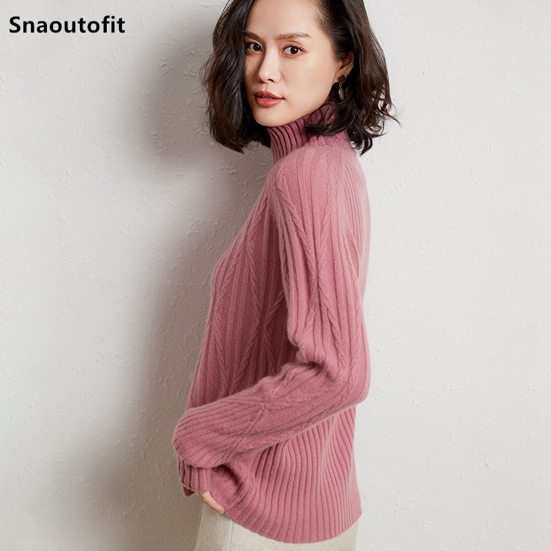 2021 Autumn Winter Wool Pullover Women's High Neck Jacquard Thickened Keep Warm Large Size Loose Lazy Wind Base Knitted Sweater enlarge