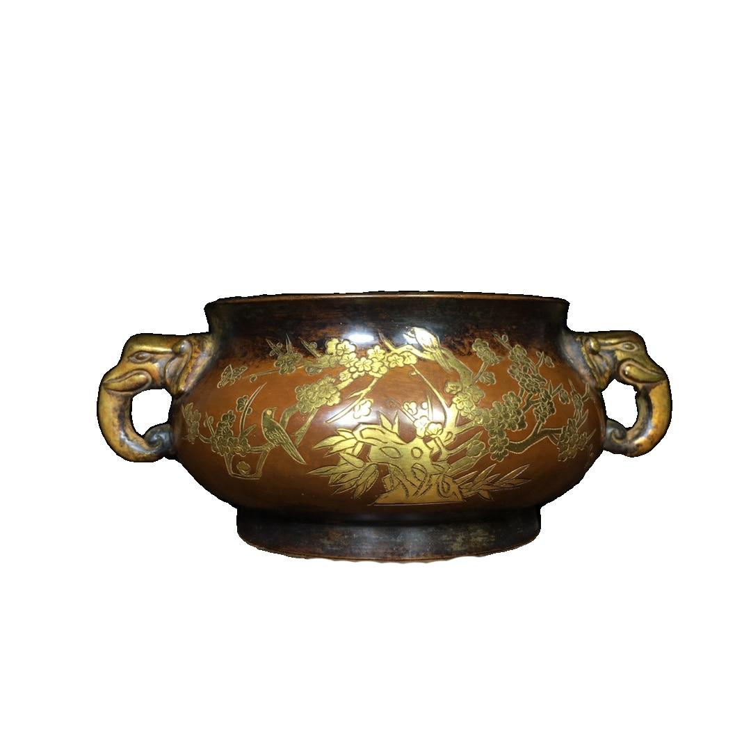 Laojunlu الذهب محفورة مبخرة في النحاس النقي العتيقة برونزية تحفة مجموعة من الانفرادي الصينية التقليدية