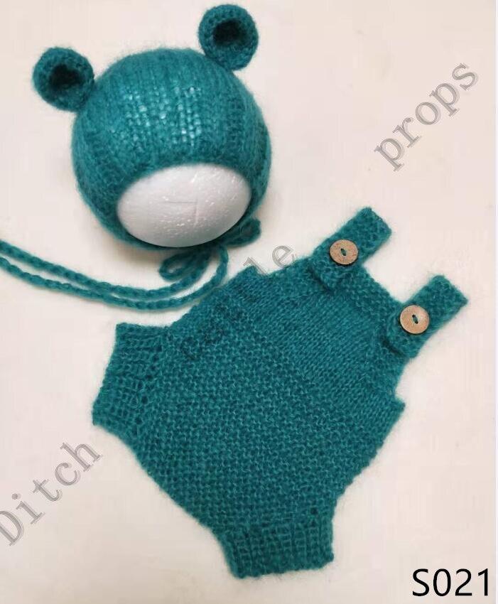 Fotografia recém-nascido adereços mohair conjunto de tricô artesanal