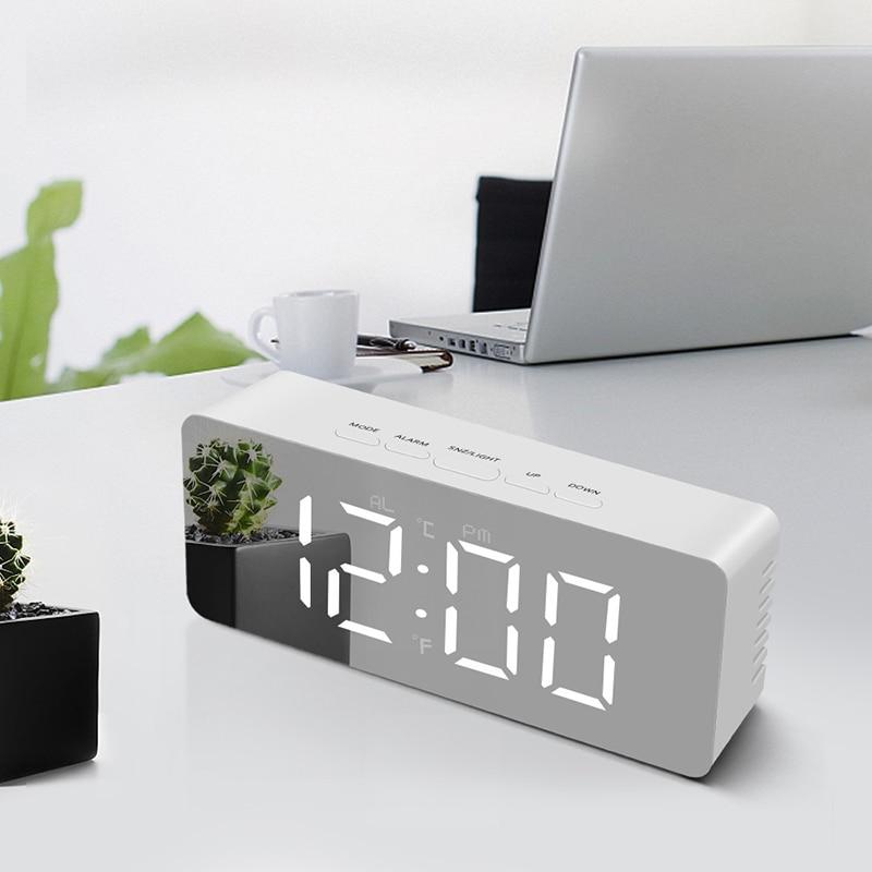 Светодиодные часы с большим экраном, зеркало для макияжа, электронная фотовспышка для детской спальни, домашний декор, ночник, новинка, осве...