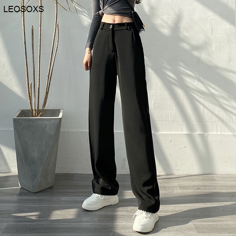 Summer Women's Clothing High Waist Suit Pants Drape Mopping The Floor Was Thin Korean Version Straight Casual Pants