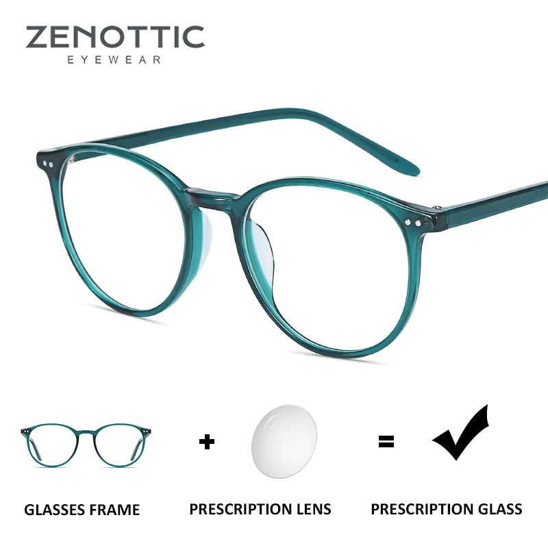ZENOTTIC Retro Acetate Round Prescription Glasses Frame Women Men Optical Myopia Anti Blue Light Eye