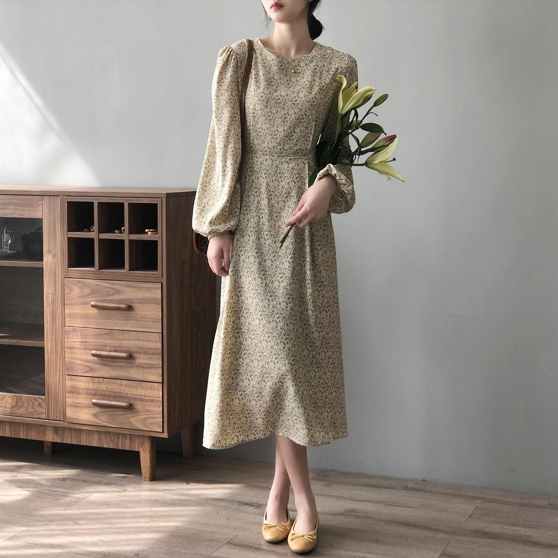 CMAZ Chic Korean Clothes Design Autumn Spring Womens Long Sleeve O-Neck Elegant Lady Floral Chiffon Vintage Long Dress 80122#