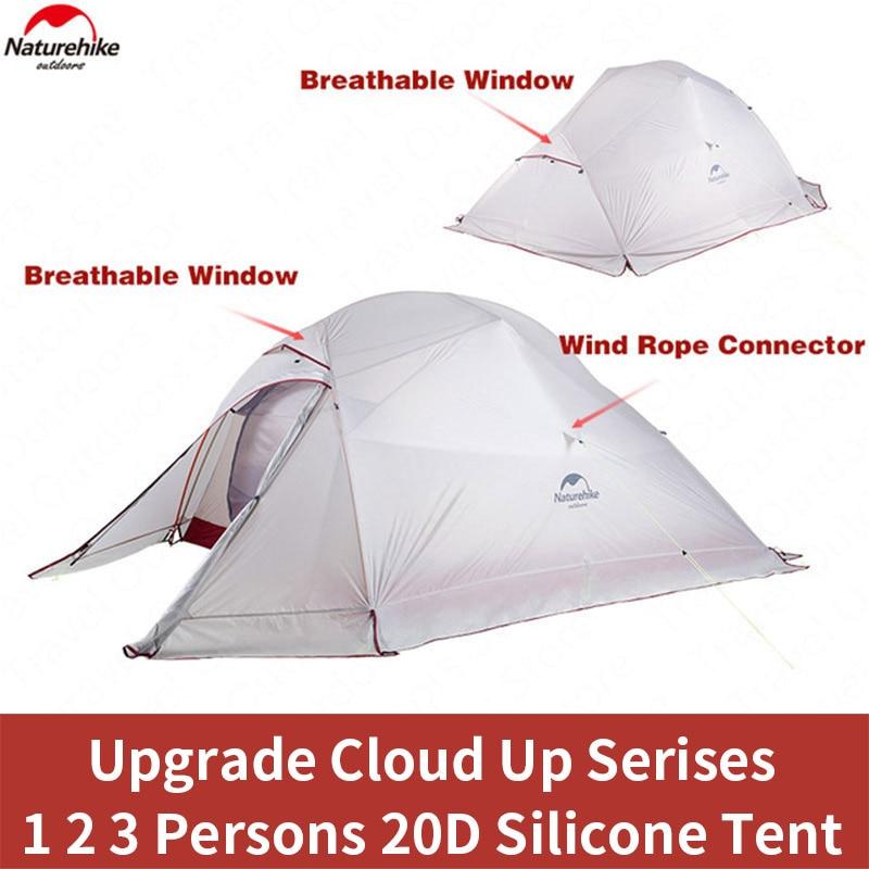 Tienda Naturehike actualización Cloud Up serie 1 2 3 personas 20D silicona doble capa aluminio Polo ultraligero tienda de campaña NH17T001-T
