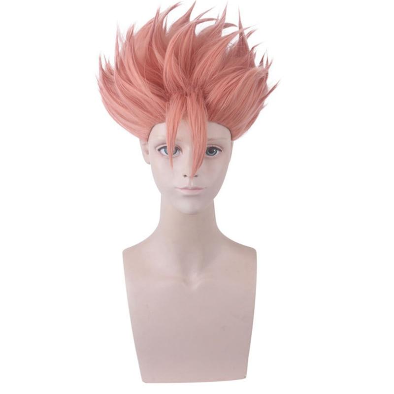Anime ID invadido los Detectives United Kaeru Peluca de Cosplay Narihisago Akihito peluca corta de pelo Rosa + gorra de peluca
