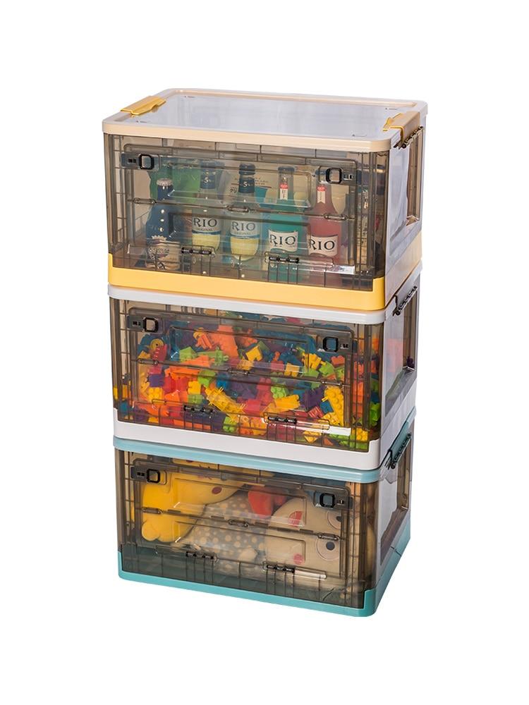 للأطفال لعبة صندوق تخزين سلة بلاستيك شفاف الجبهة وجبة خفيفة صندوق تخزين قابل للطي جانب مفتوح خزانة ملابس بمفتاح