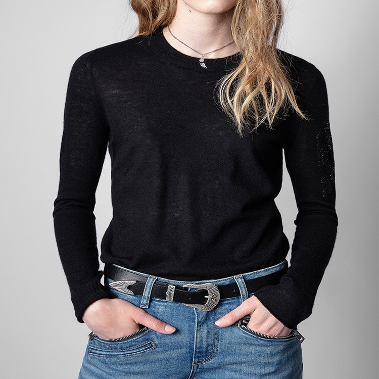 Early autumn new 2021 thin round neck solid color long sleeved arrow hot drill warm bottomed cashmere sweater enlarge