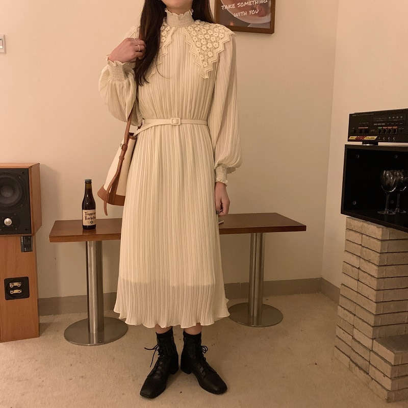 Ha7434896751b423184e8830ef9d9ad7ci - Spring / Autumn Lace Stand Collar Long Sleeves Pleated Midi Dress with Belt