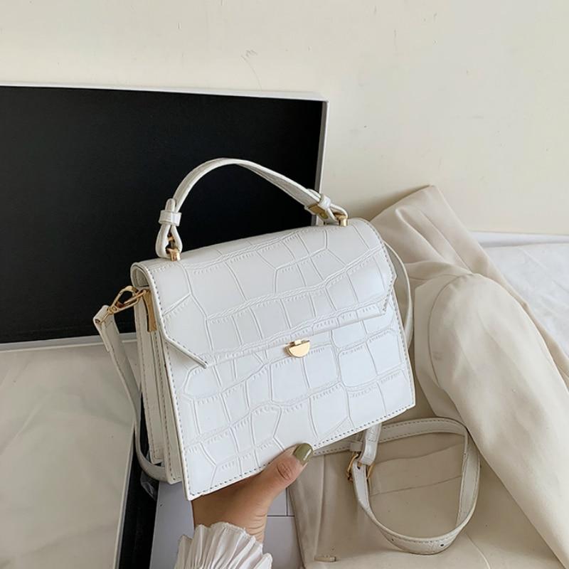 SWDF Stone Patent White Crossbody Bags For Women 2021 Small Handbag Small Bag PU Leather Hand Bag Ladies Designer Evening Bags