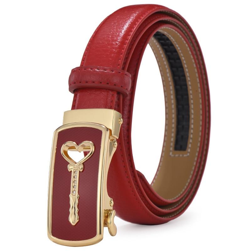 2019 Hot Fashion Women Belts Real Leather Luxury Strap Gold Automatic Buckle Belts w/2.4cm Waistband Designer Cartoon Wand Belt