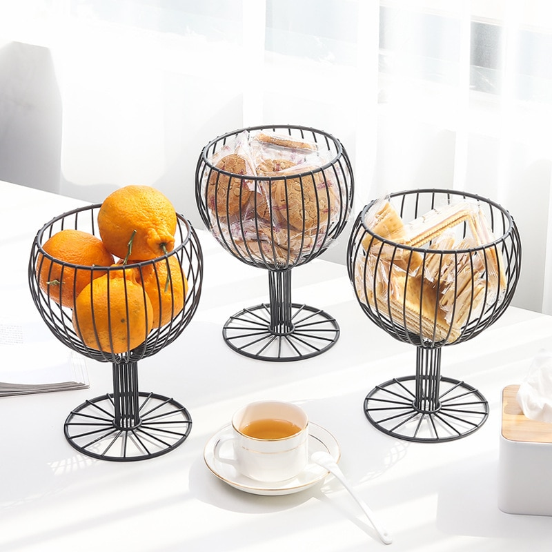 Nordic Minimalist Fruit Container Wire Basket Kitchen Drain Shelf Vegetable Storage Rack Living Room Household Snack Tray
