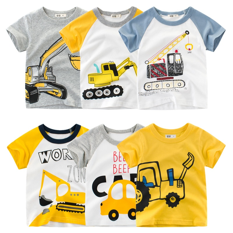 2-10Y Cartoon Print Baby Boys T Shirt for Summer Infant Boy Excavator T-Shirts Short Sleeves Kids Clothes Toddler Cotton Tops