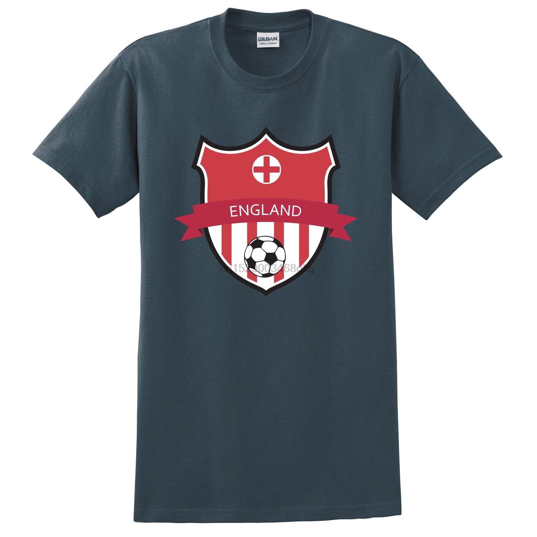 Verano moda cuello redondo Hip Hop manga corta Camiseta Inglaterra bandera Soccerer equipo estampado carbón camiseta