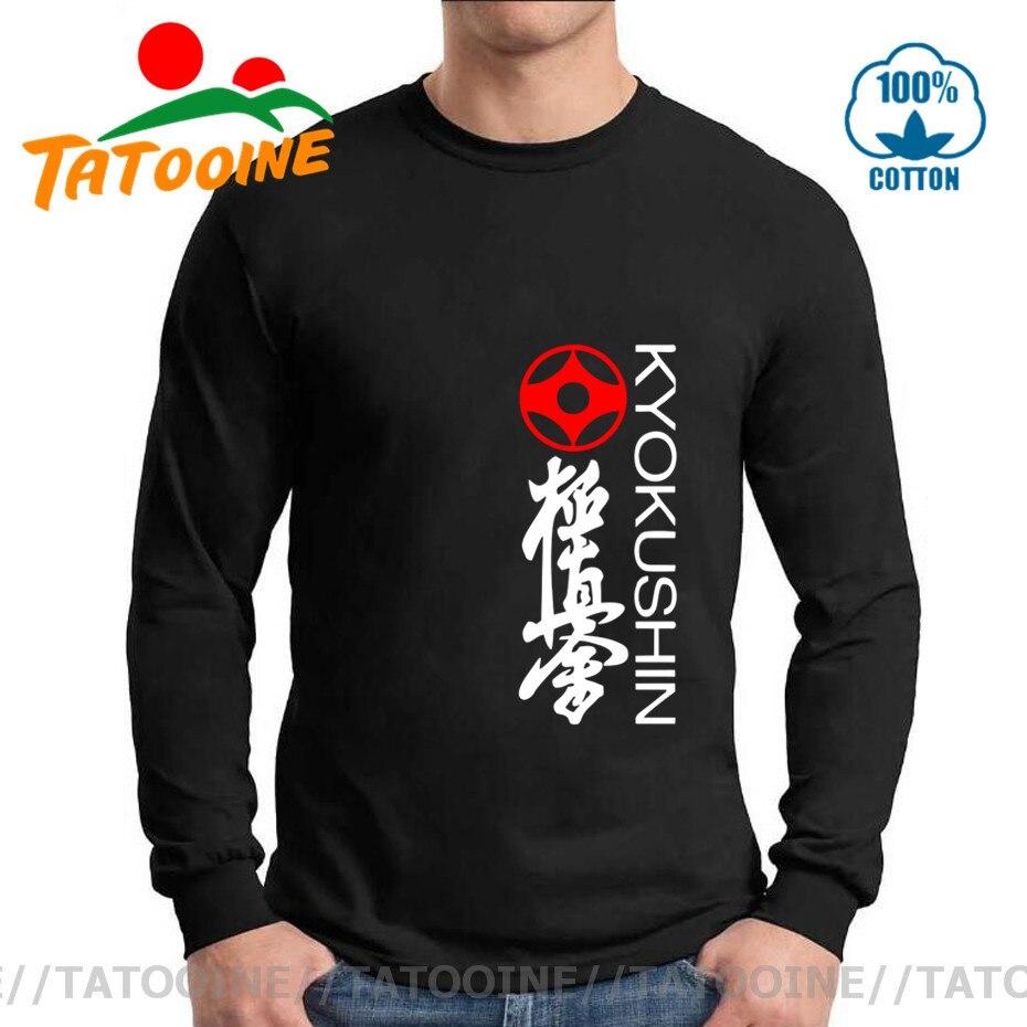 Tatooine Kung Fu Fashion Fitness Long sleeve Tshirt Homme Kyokushin Karate Masutatsu Oyama Karate Japan Tee Letter Print T-Shirt