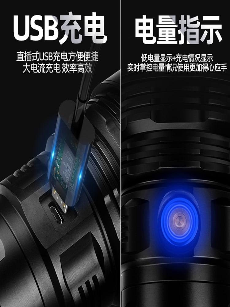 Black Flashlight Bright Battery Rechargeable Adjustable Flashlight Shock Resistant Aluminum Alloy Lanterna Household Lamp EB50SD enlarge
