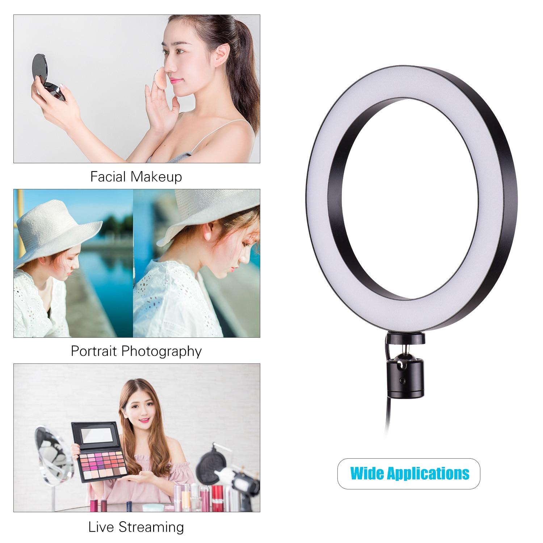 Mini anillo de luz LED de 20cm/8 pulgadas, 3 modos de iluminación, brillo ajustable, alimentado por USB con adaptador de cabezal de bola Flexible