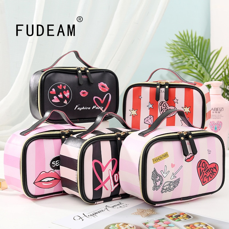 FUDEAM Leather Love Heart Portable Women Cosmetic Bag Multifunction Travel Storage Organize Portable